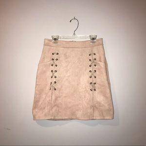 Dresses & Skirts - Pale Pink Faux Suede Skirt